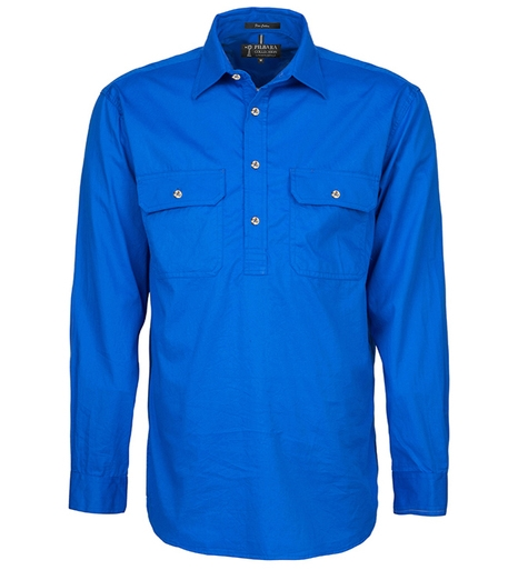 Mens Pilbara Closed Front L/S Shirt